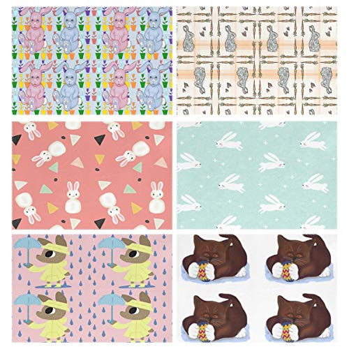 (YOULUCK-7 Placemats Set of 6, Bunnies and Tulips On Plaid in Pink Dark Mint The Rain Brown Tuxedo Kitten Easter Egg Dining Table Mats for Home Kitchen Office)