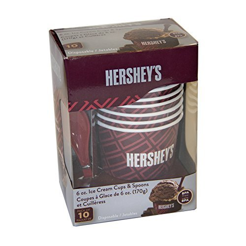 HERSHEY'S IC13895 Ice Cream Cups and Spoons, Tan (Discontinued by Manufacturer)