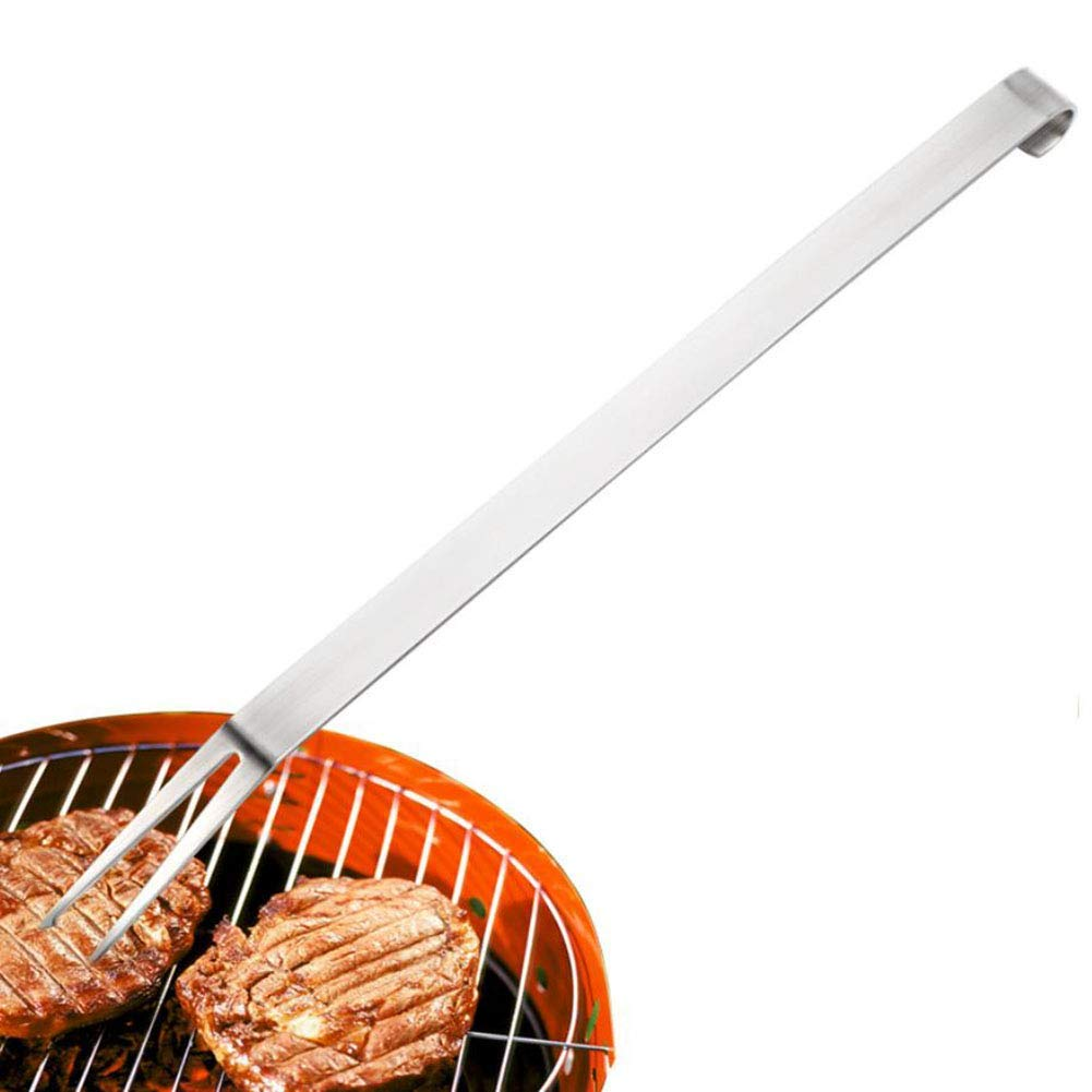 BBQ Fork Stainless Steel Grilling Fork Meat Fork Long Handle Comfort Grip Smoker Charcoal Gas Electric Cooking Utensil