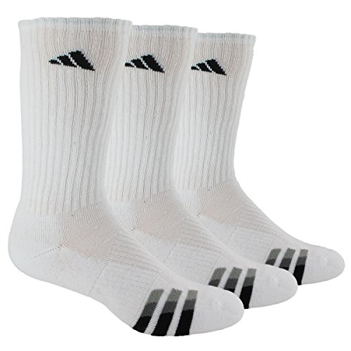 adidas Men's Cushioned 3-Pack Crew Socks, White/Black/Granite/Light Onix, X-Large,fits shoe size 12-15 - Athletic Logo Socks White