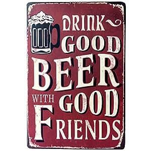 Amazon.com: Cartel de chapa cerveza fría aquí cerveza ...