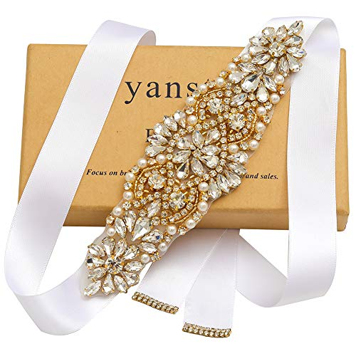 Yanstar Handmade Gold Rhinestone Crystal Beads Wedding Bridal Belts Sash With White Ribbons For Wedding Dress