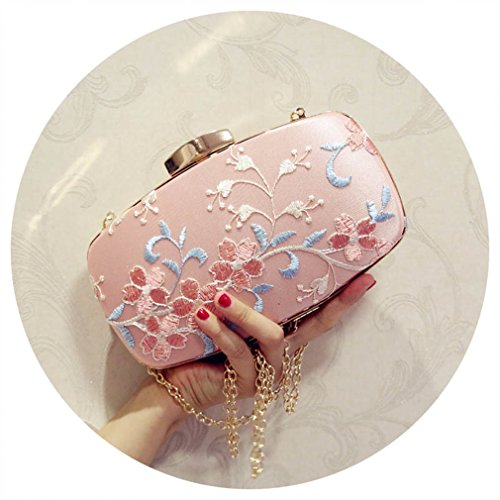 EKDJFG Embroidered Evening Bags For Party Wedding Silk Banquet Purse Girls Shoulder Crossbody Bags Chain Clutch Bag Pink ()