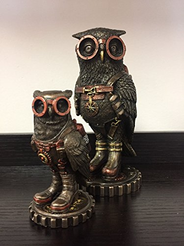 Steampunk Owl Mother & Son On Gears Statue Sculpture (Mother Son Statue)