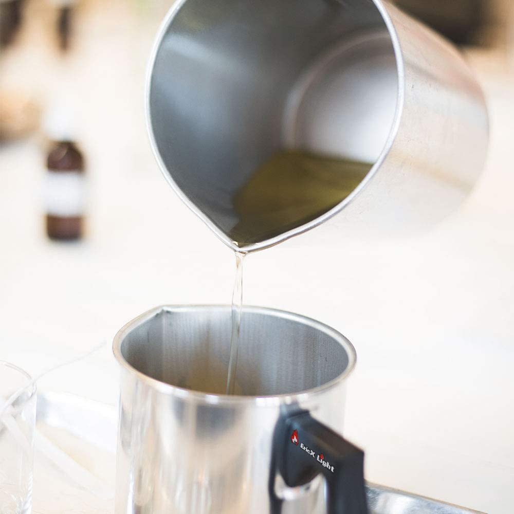 EricX Light Candle Making Pouring Pot,2 pounds,Double Boiler Wax Melting Pot,Dripless Pouring Spout /& Heat-Resisting Handle Designed,Aluminum Construction Candle Making Pitcher