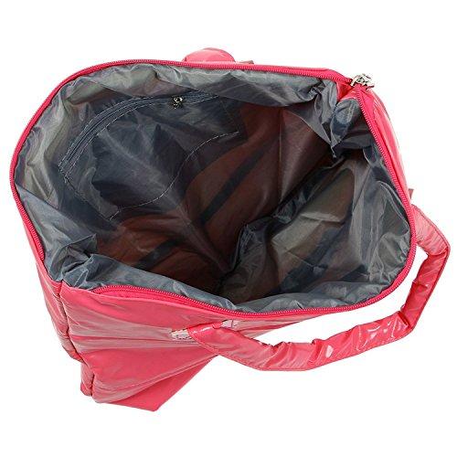 TOOGOO(R) Caldo di vendita Prodotti semplice alla moda Pure spalle Colore Cotton Stripe Inverno della borsa-rosso rosa rossa