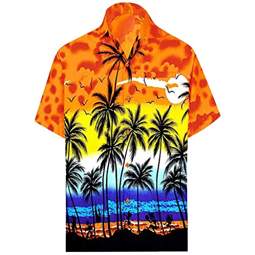 Beautyfine Men's Button Hawaiian Shirts Print Beach Short Sleeve T Shirt Fake Pocket Quick Dry Top Yellow