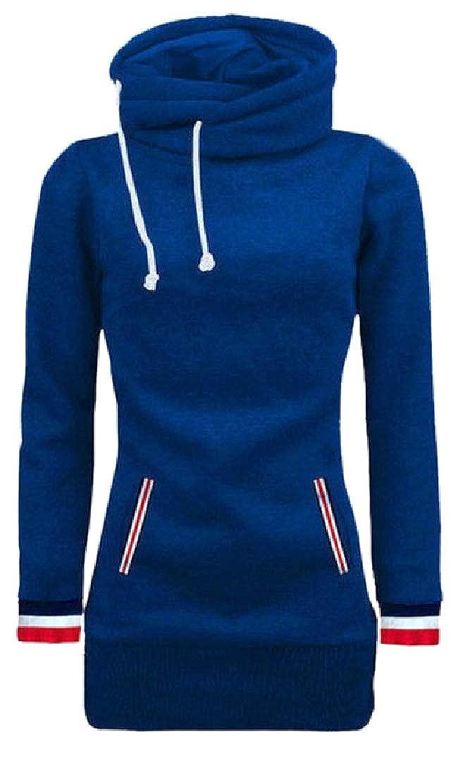 YUNY Women Loose-Fit Fleece Lined Funnel Neck Jersey Pullover Blue M