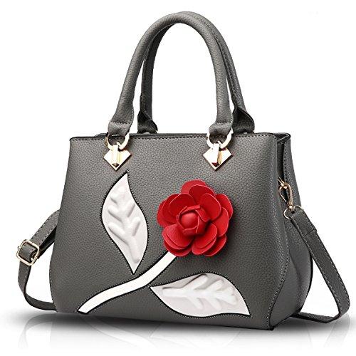 Tisdaini Bolso retro de la carpeta del bolso elegante de la flor del bolso de hombro del bolso de las mujeres Gris oscuro
