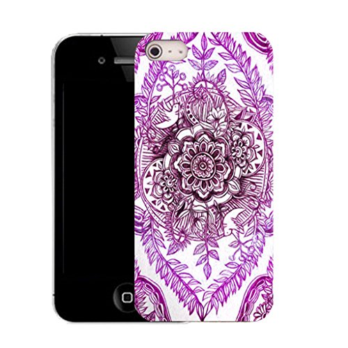 Mobile Case Mate IPhone 4 clip on Silicone Coque couverture case cover Pare-chocs + STYLET - purple delighted floral pattern (SILICON)