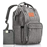 Baby Diaper Bag Backpack - Multi-Function Waterproof Travel Baby Bags for Mom, Dad, Men, Women - Large Maternity Nappy Bags for Girls & Boys - Durable, Stylish - Diaper Mat Included (Classic Gray)