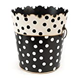 MacKenzie-Childs Hand Painted Iron Brass Black And White Finished Dot Waste Bin