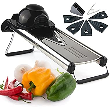 Chef's INSPIRATIONS Premium V-Blade Mandoline Slicer, Cutter and Julienne. Best For Slicing Food, Fruit and Vegetables. Includes 5 Inserts, Cleaning Brush and Blade Safety Sleeve. Stainless Steel