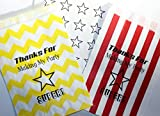 Super Star Birthday Party Favor Bags with Star Stickers, Thanks for Making My Party Super, Red and White Stripe, Yellow Chevron, Set of 48 Goody Bags and Fun Stickers, Made in the USA, by Bakers Bling