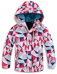 Girls Hooded Jacket Fleece Lined Waterproof Light Windbreaker