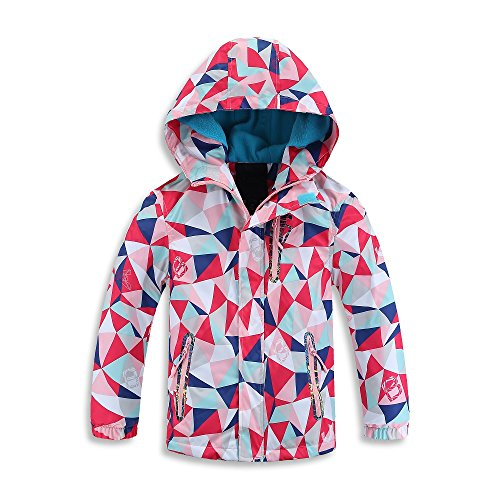 Mobycare Girls Boys Hooded Fleece Lined Active Jackets Waterproof Light Windbreaker