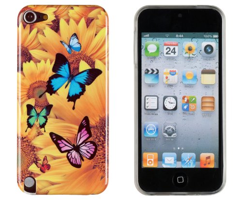 Butterfly Sunflower Flexible TPU Case with Clear Sides for Apple iPod Touch 5 (5th generation) + DandyCase Keychain Screen Cleaner [Retail Packaging by (5th Generation Snap)