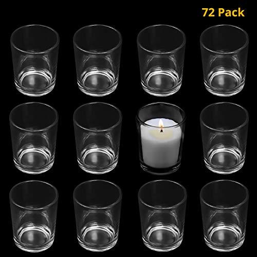 BELLE VOUS Portavelas (72 Pieces) - H6.5 x D5cm de Alto Transparente Votivo Portavelas de Cristal - Soporte Velas de Te para Regalos, Bodas Fiesta Jardin Decoracion, Aromaterapia, Centro de Mesa