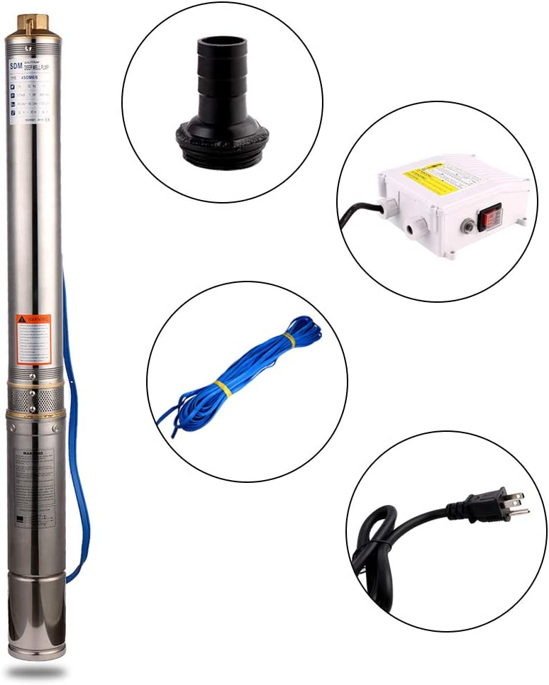 """SHYLIYU Submersible Pumps 4"""" OD Pipe 110V/60HZ 1.1KW 1.5HP Stainless Steel Deep Well Pump 1.25"""" Outlet Submersible Bore Pump Deep Well Pump with Control Box for Industrial and Home Use"""