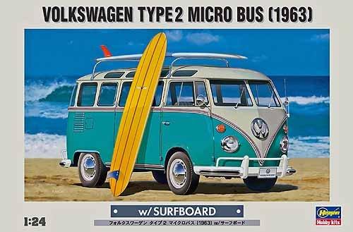 ハセガワ 1/24 フォルクスワーゲン タイプ2 マイクロバス1963 w/ サーフボード 20247 B002C9VMQI