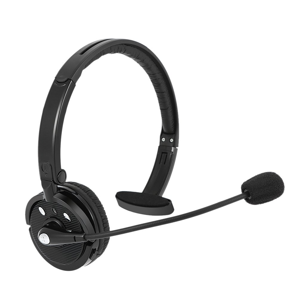 Upgraded Bluetooth Headset/Truck Driver Headset, Office Wireless Headset,Over-The-Head Headset with Mute Function, Lightweight Earpiece for Truck Drivers/Call Center