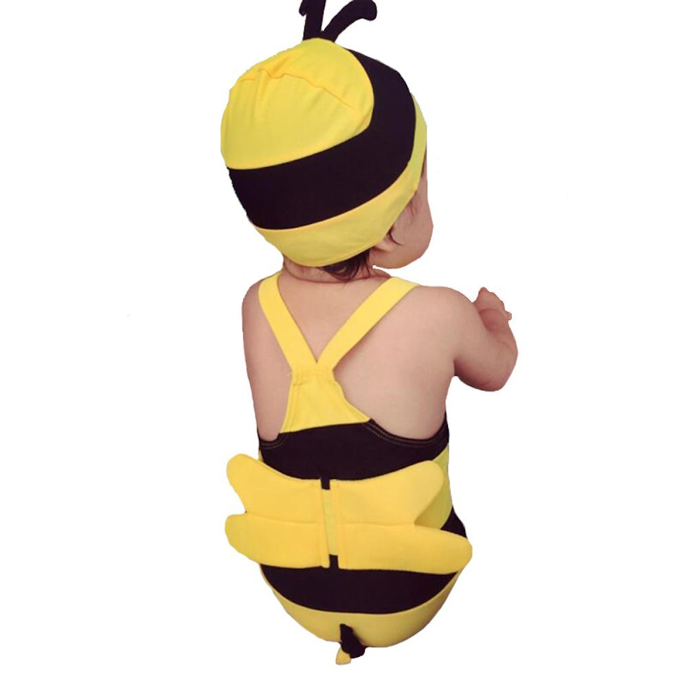 The Beach Stop Baby / Toddler Cute Bumble Bee Swimming Costume And Cap Set