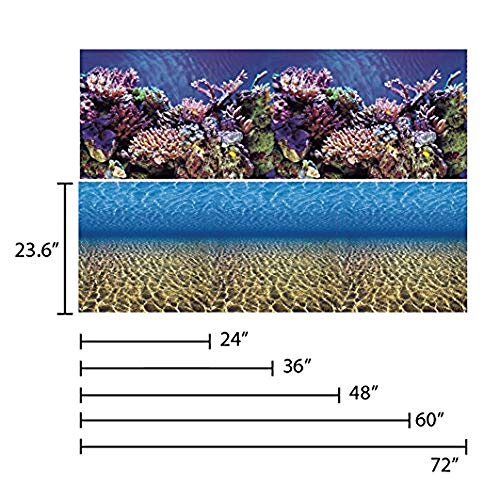 Vepotek Aquarium Background Ocean Seabed /Coral Reef Double sides (72X24H) (36x24 Aquarium Background)