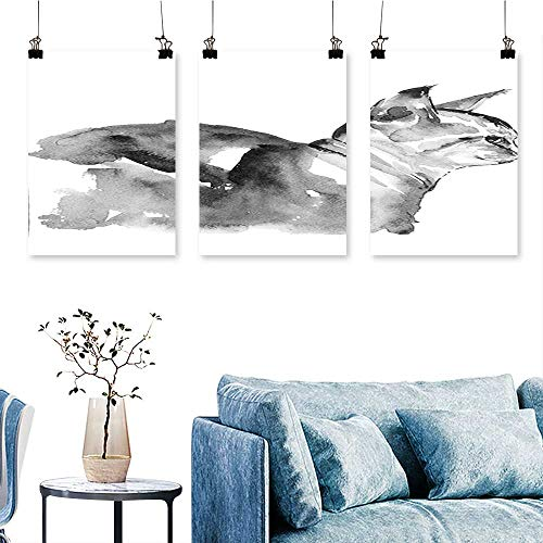 SCOCICI1588 3 Panel Canvas Wall ArtPortrait in Blurry Watercolor Shady Tones Cute Animal Baby Kitty Artsy Picture Black Print On Canvas No Frame 12 INCH X 16 INCH X 3PCS