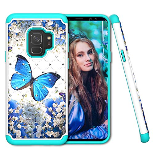 Samsung Galaxy S9 Case, COTDINFORCA Rhinestone Bling Diamond Case Shock Absorption Heavy Duty Protective Dual Layer Silicone Plastic Cover for Samsung Galaxy S9 (2018). 2 in 1 - Blue Butterfly ()