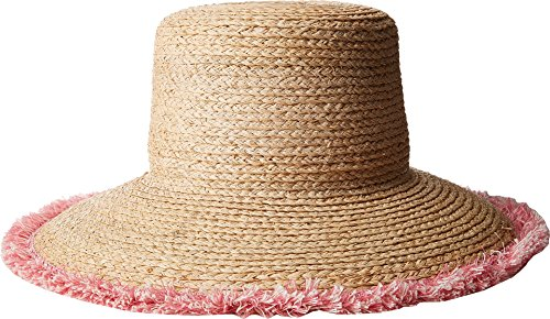 Hat Attack Women's Raffia Braid Lampshade w/Fringe Natural/Pink One (Braid Lamp)