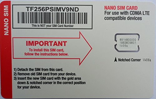 Straight Talk Verizon 4G LTE Compatible Nano SIM Card. Fits Verizon iPhone ()
