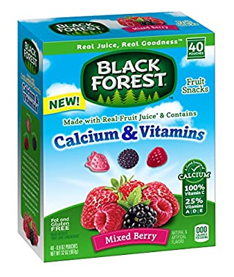 Black Forest Calcium & Vitamin Fruit Snacks, Mixed Berry, 0.8 Ounce Bag, Pack of 40