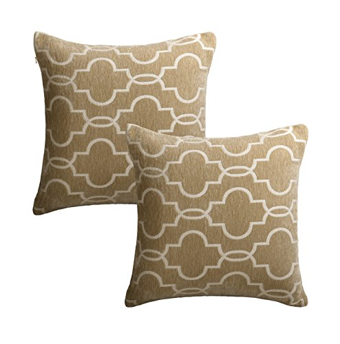 MRNIU Set of 2 Throw Pillow Covers Coastal Cushions Covers 100% Cotton Home Decorative 18 inch 20 inch Soft Pillow Case Covers Invisible Zipper Decorative (Brown, 18 x 18 inch) ()