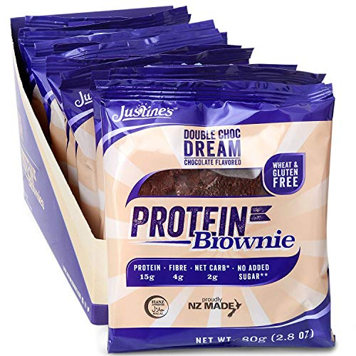 (Justine's Double Chocolate Dream Brownie, Soft Baked High Protein Healthy Snack Cookie, Ultra Low Carb, No Added Sugar, Gluten Free, Wheat Free, Made in New Zealand (2.82 oz, 12 Pack))