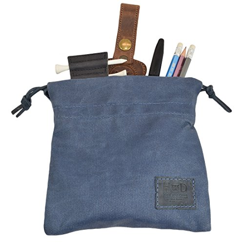 Hide & Drink Waxed Canvas Golf Valuables Field/Travel/Tech/Board Game Dice Pouch Handmade Blue Mar