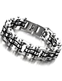 Masculine Mens Bike Chain Bracelet of Stainless Steel Silver Black Two-tone High Polished