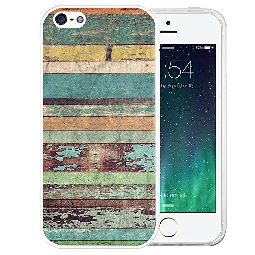 iPhone SE Case, LAACO Beautiful Clear TPU Case Rubber Silicone Skin Cover for iPhone 5/5S/SE - Nostalgic wood design