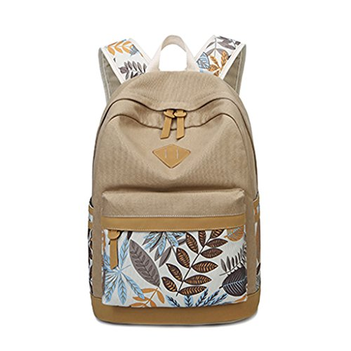 Girls Women Bag Dabixx Backpack Khaki Backpack Print Black Schoolbags Canvas College Leaf Travel qRBcTyt