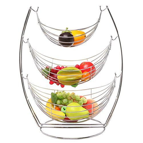 3 Tier Chrome Triple Hammock Fruit / Vegetables / Produce Metal Basket Rack Display Stand - MyGift (Metal Fruit Basket Stand)