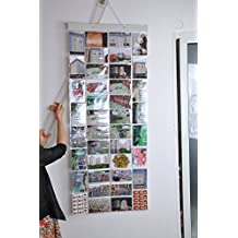 Photo Album Picture Pockets Photo Hanging Display, 40 Pockets with 80 Photo, Clear