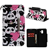 Leather Wallet Case for Samsung Galaxy A6 2018,Shinyzone Cute Cartoon Animal Love Heart Panda Painted Pattern Flip Stand Case,Wristlet & Metal Magnetic Closure Protective Cover