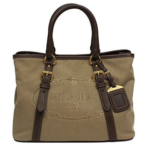 Prada Logo Jacquard Canvas Leather Satchel Bowling Bag with Shoulder Strap (Prada Canvas Handbag)