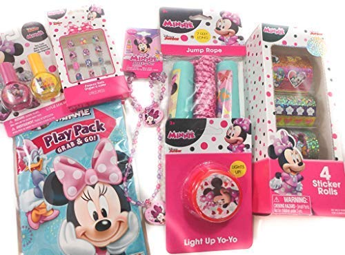 Minnie Mouse Toy Bundle - 7 Items; Stickers, Jewelry Set, Yo-Yo, Jump Rope, Pack & Play Set, Nail Polish (2 pk) & Press-On Nails (12 pk) ()