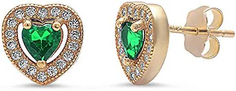 Yellow Gold Plated Simulated Green Emerald & Pave Cubic Zirconia Heart .925 Sterling Silver Earrings