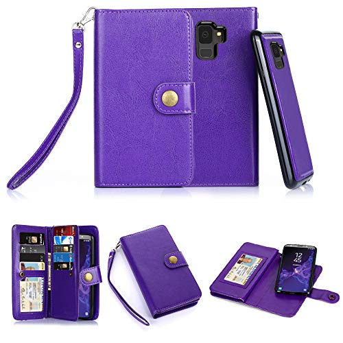 Galaxy S9 Case, 10 Card Slot - ID Slot, Button Wallet Folio PU Leather Case Cover with Detachable Magnetic Hard Case for Samsung Galaxy S9 (2018 Release) - Purple