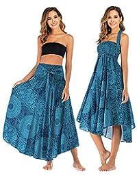Salamola - Vestido Largo de Playa para Mujer, diseño Bohemio con 2 Formas de Uso, para Cubrir el Bikini