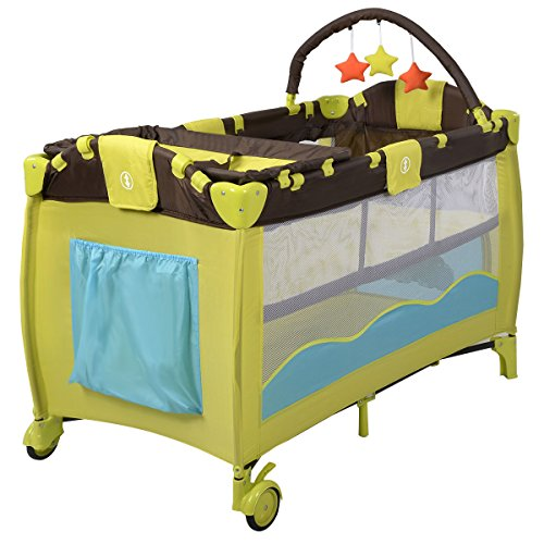 Jenny Lind Baby Cradle (Baby Playpen Playard Bassinet Foldable Bed Travel Crib Newborn Infant Yellow Color)