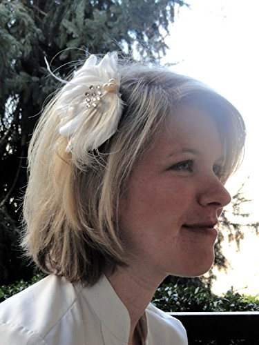 Oh Lucy Homemade IVY Veil Hair Clip, Feather Fascinator, Bridal Hair Piece in Ivory, Pearl and Crystal