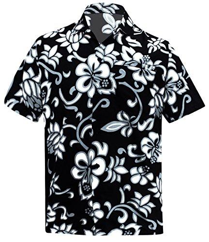 La Leela* Beachwear Chemise Mens Bouton Aloha Bas Manches Courtes Coupe d�Contract�e Chemise Hawa�Enne Noi