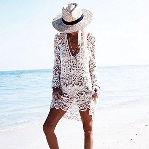 Manica Parei Peach Donna up a V Bianco Lunga Abito Elegante Beachwear Pizzo Bikini L Cover Floreale da Copricostumi Scollo Spiaggia fq8OcwF